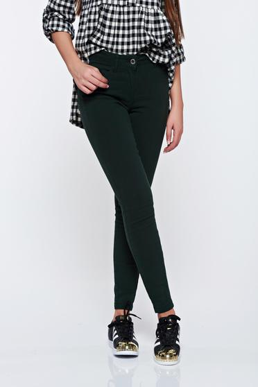 Top Secret darkgreen cotton skinny jeans with front pockets