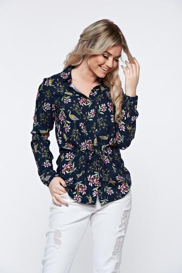Top Secret darkblue women`s shirt casual airy fabric nonelastic fabric with a collar