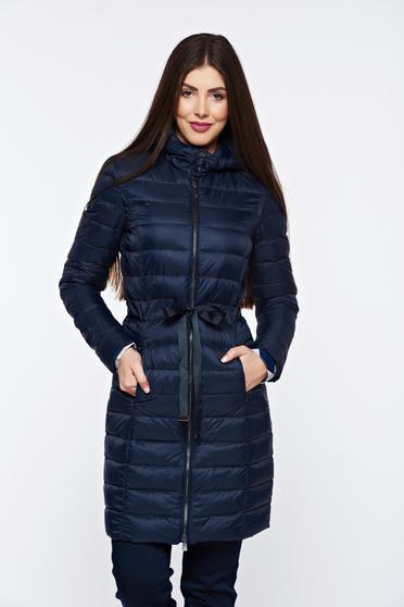 Top Secret darkblue jacket from slicker with undetachable hood with inside lining