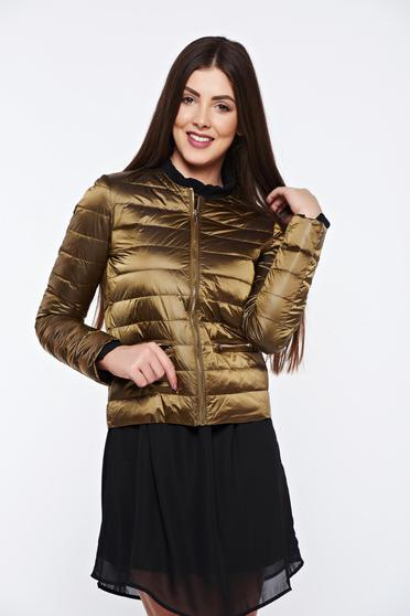 Top Secret gold jacket from slicker with inside lining with zipper details pockets