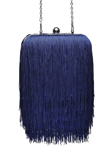 Top Secret darkblue bag occasional long chain handle with fringes
