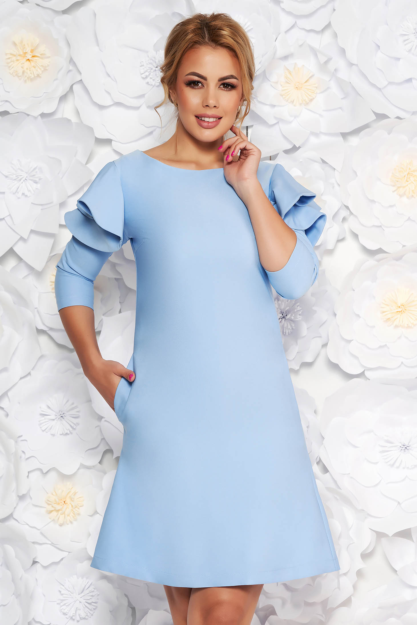 Rochie LaDonna albastru-deschis eleganta de zi din stofa usor elastica cu croi in a si volanase la maneca