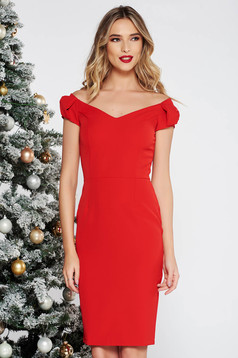 StarShinerS red dress elegant pencil on the shoulders slightly elastic fabric