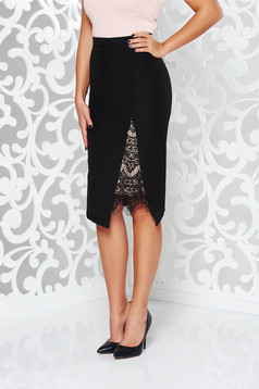 StarShinerS black skirt elegant with lace details with tented cut