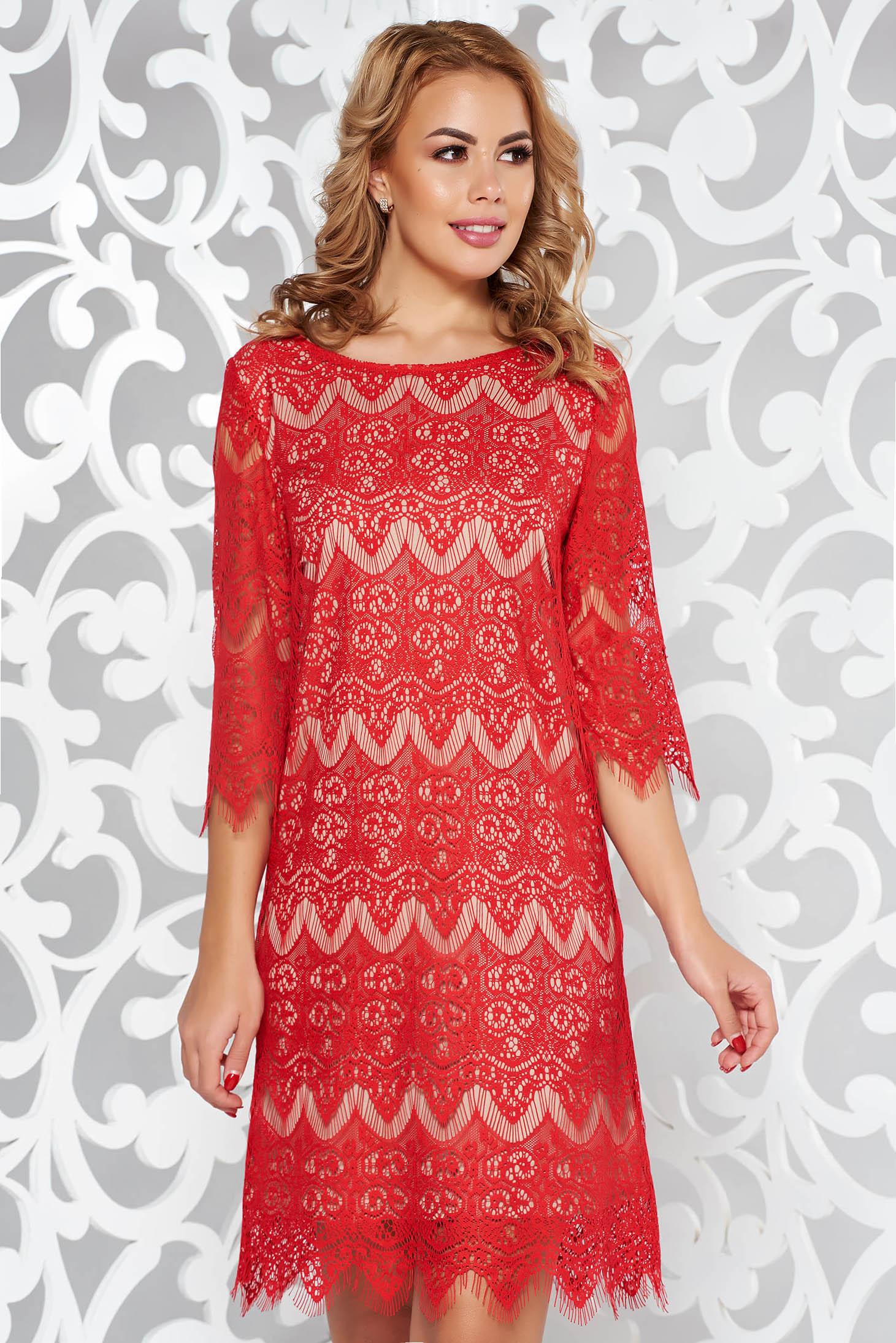 31a8efe857 Piros StarShinerS elegáns ruha csipkés anyag belső béléssel