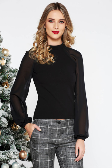 StarShinerS black women`s blouse elegant from elastic fabric long sleeved