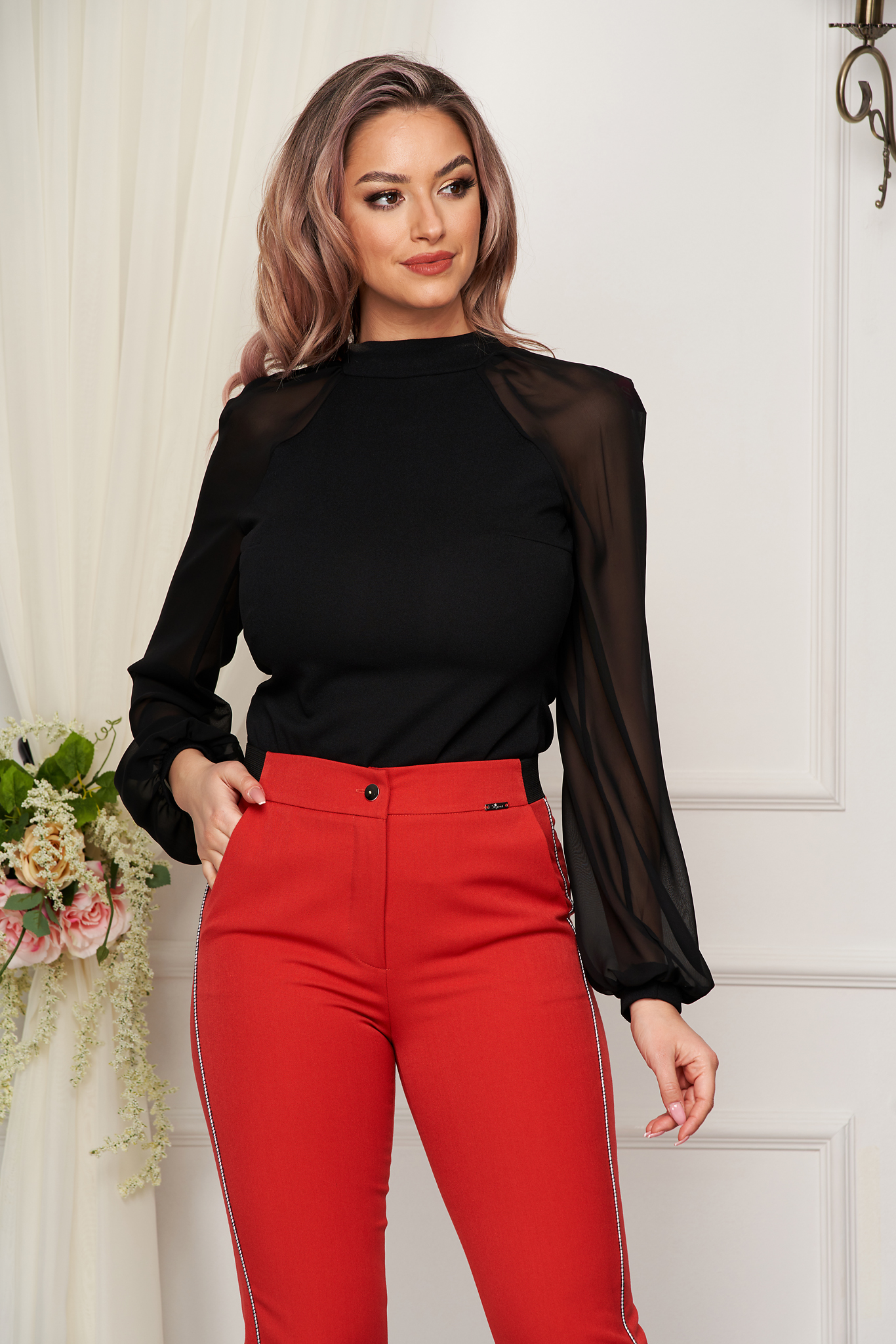 StarShinerS black women`s blouse elegant from elastic fabric long sleeved with easy cut