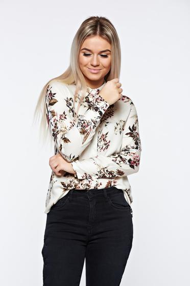 Top Secret white women`s shirt with easy cut airy fabric casual