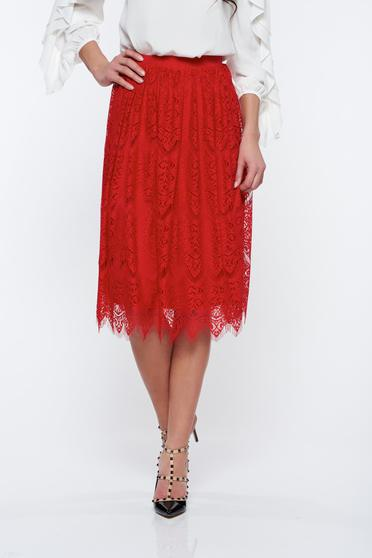StarShinerS red skirt with inside lining with elastic waist from laced fabric