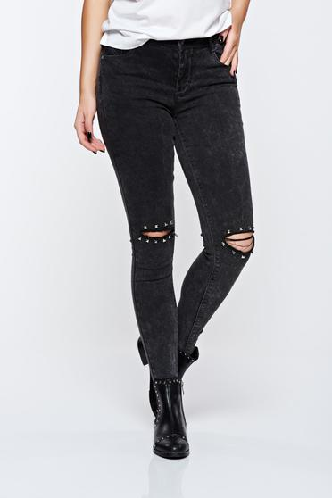 Top Secret black jeans skinny jeans cotton with medium waist with ruptures