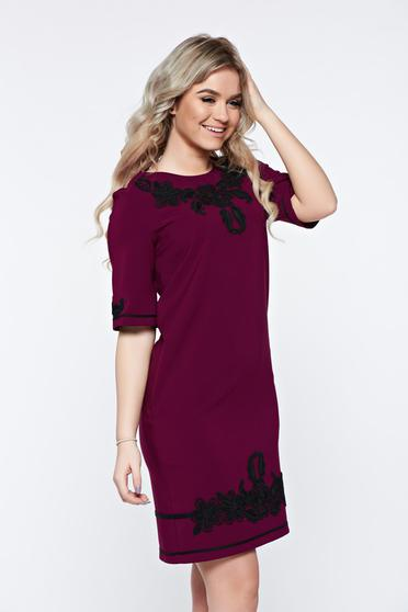 LaDonna purple dress with pockets with embroidery details elegant