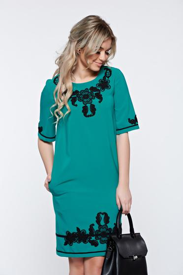 LaDonna turquoise dress with pockets with embroidery details elegant
