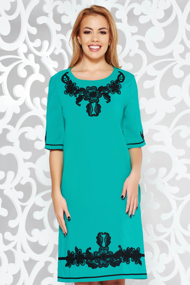 LaDonna turquoise dress with pockets with embroidery details elegant slightly elastic fabric with easy cut