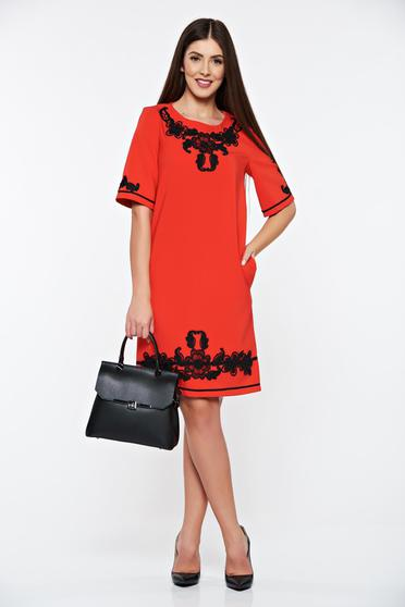 LaDonna red dress with pockets with embroidery details elegant