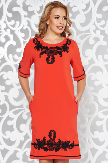 LaDonna red dress with pockets with embroidery details elegant slightly elastic fabric with easy cut