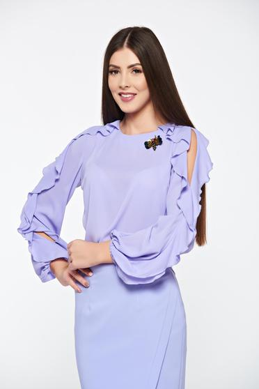 LaDonna lila women`s blouse elegant accessorized with breastpin airy fabric