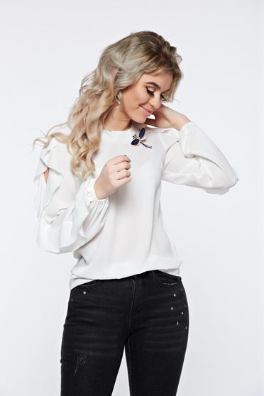 LaDonna white women`s blouse elegant accessorized with breastpin airy fabric