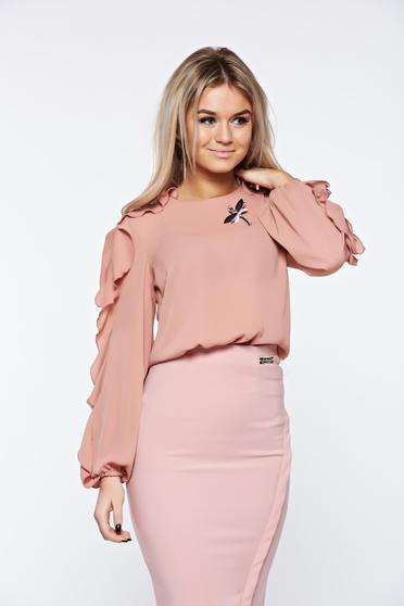 LaDonna lightpink women`s blouse elegant accessorized with breastpin airy fabric