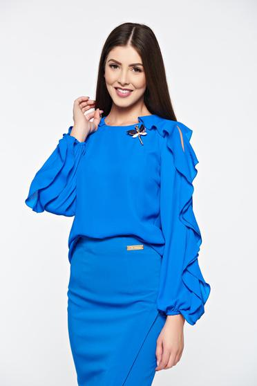 LaDonna blue women`s blouse elegant accessorized with breastpin airy fabric