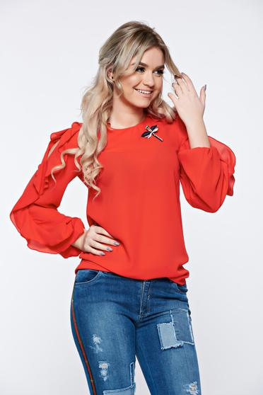 LaDonna red women`s blouse elegant accessorized with breastpin airy fabric
