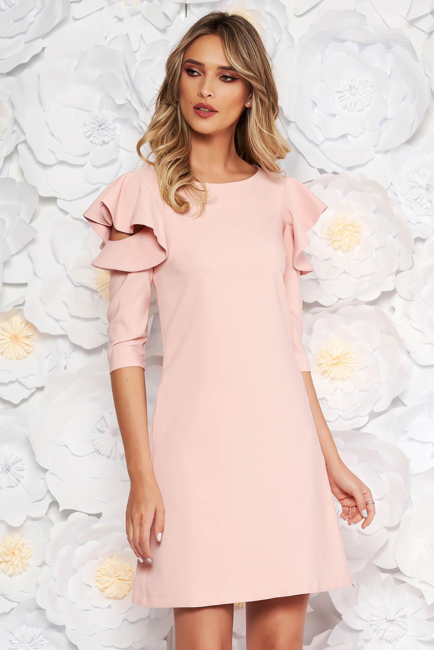 Rochie LaDonna rosa de zi cu croi in A din stofa usor elastica cu volanase la maneca