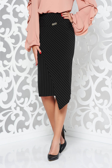 LaDonna black skirt office with inside lining high waisted from non elastic fabric pencil