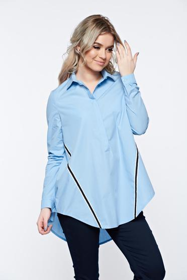 LaDonna blue women`s shirt casual with easy cut cotton