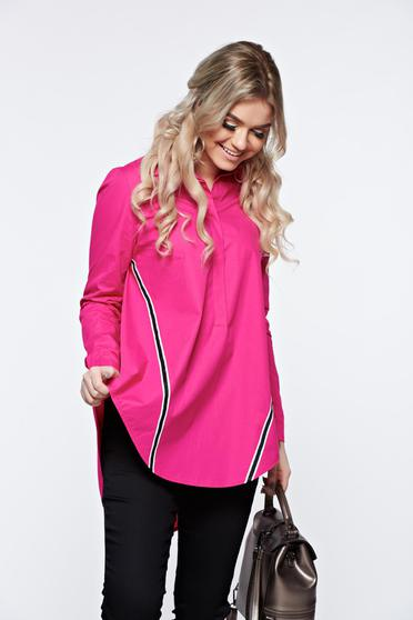 LaDonna pink women`s shirt casual with easy cut nonelastic cotton asymmetrical