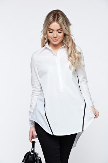 LaDonna white women`s shirt casual with easy cut cotton