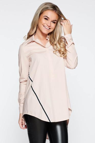LaDonna rosa women`s shirt casual with easy cut nonelastic cotton asymmetrical
