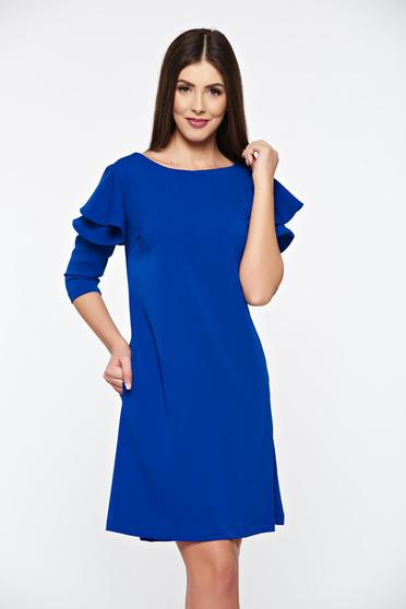 LaDonna with easy cut blue dress with ruffled sleeves