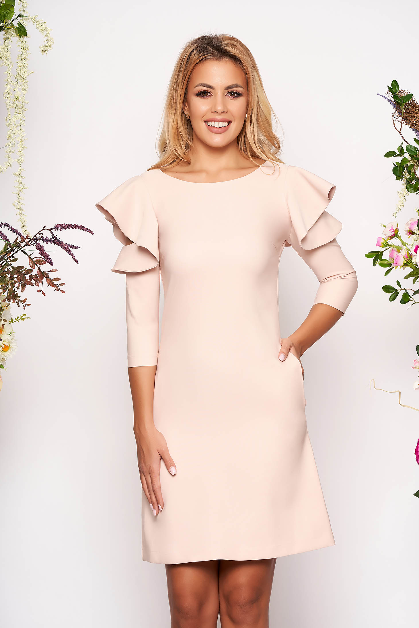 Lightpink daily elegant a-line dress slightly elastic fabric with ruffled sleeves