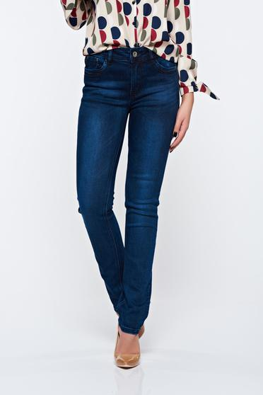 Top Secret blue jeans with straight cut elastic cotton with front and back pockets