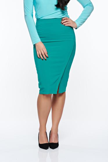 LaDonna office with inside lining green skirt slightly elastic fabric