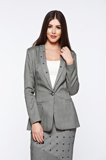 LaDonna grey jacket office with inside lining from non elastic fabric