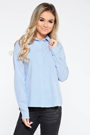 PrettyGirl blue women`s shirt casual flared cotton with pointed collar