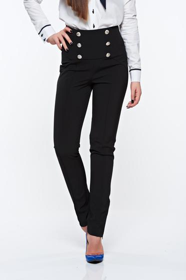 PrettyGirl black trousers office high waisted from elastic fabric with button accessories