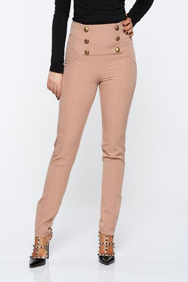 PrettyGirl cream trousers office high waisted from elastic fabric with button accessories