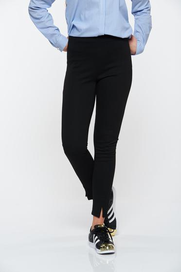 PrettyGirl black trousers with elastic waist conical casual