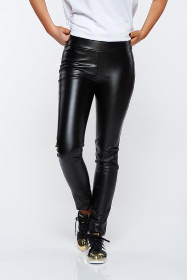 PrettyGirl black tights casual from ecological leather with elastic waist