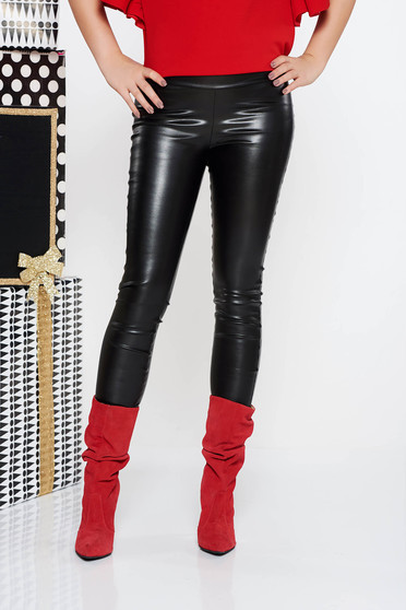 PrettyGirl black tights casual from ecological leather with elastic waist with tented cut with medium waist