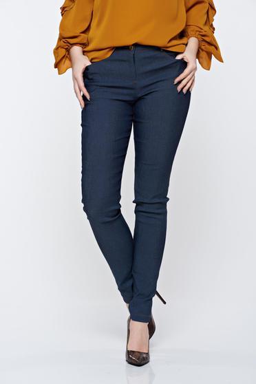 PrettyGirl blue jeans with pockets with medium waist slightly elastic cotton