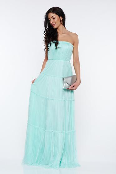 Ana Radu mint dress luxurious from tulle off shoulder with inside lining