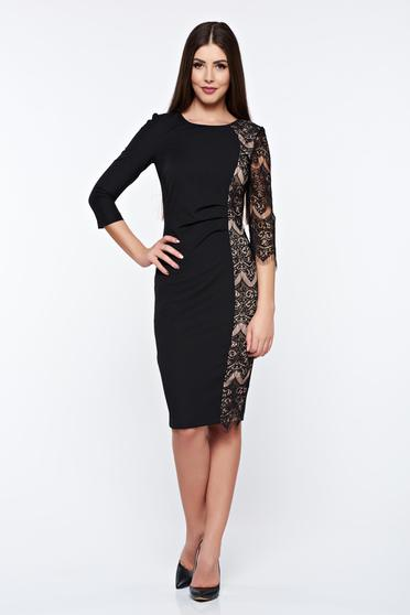 StarShinerS black dress pencil with lace details elegant