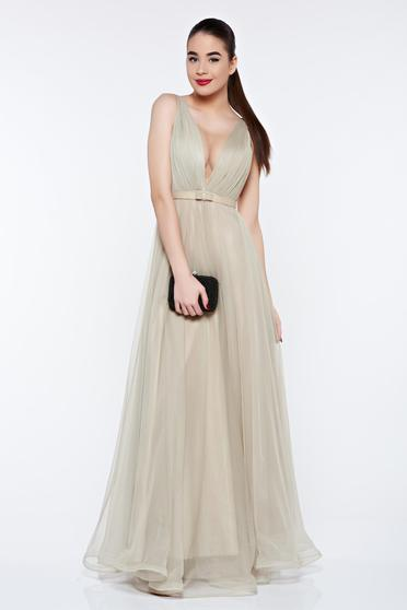 Ana Radu occasional net khaki dress with v-neckline