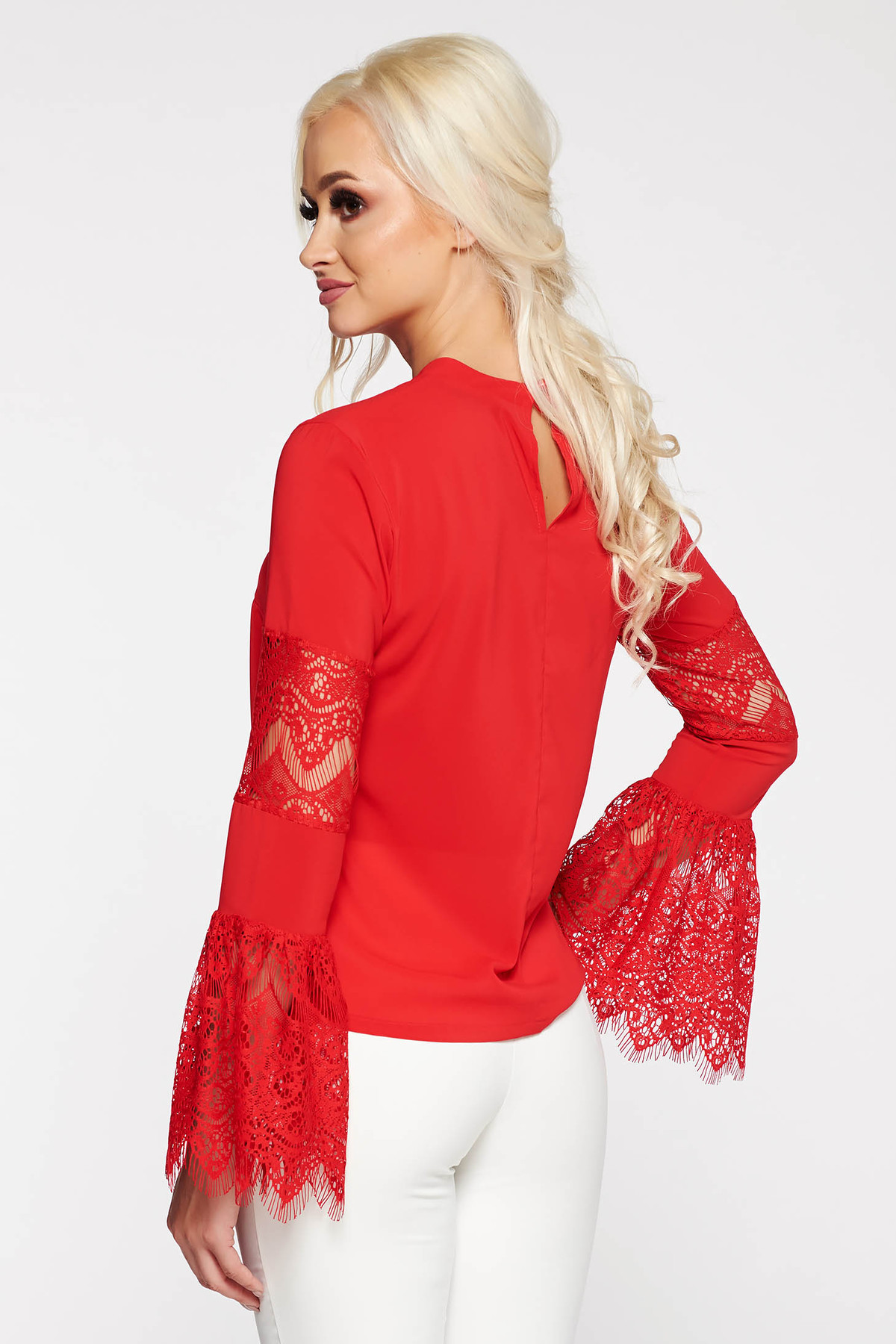 Bluza dama StarShinerS rosie eleganta cu maneci clopot din dantela