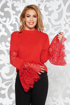 StarShinerS red women`s blouse elegant with bell sleeve laced soft fabric flared