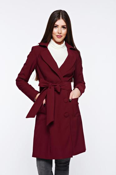Artista burgundy trenchcoat office with inside lining slightly elastic fabric with pockets