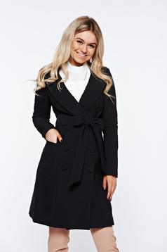 Artista black trenchcoat office with inside lining slightly elastic fabric with pockets