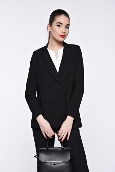 Artista black jacket office from non elastic fabric with inside lining with straight cut